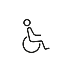 Disabled man sign line icon
