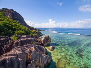 Aerial view: Anse source d'argent, La Digue Island, Seychelles