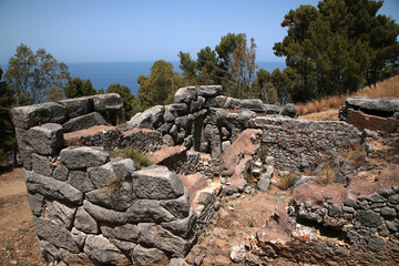 Cefalu, Sicily, Italy. Ruins of the megalithic temple of Diana, IX c. BC - one of the earliest worship places in Europe