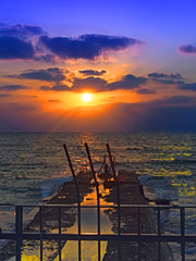 Wall Mural - Migrations: Beautiful Sunset on the Mediterranean Sea