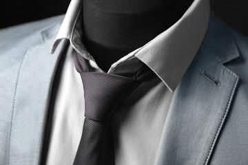 Elegant custom-made suit on mannequin, closeup