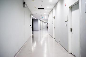 empty long corridor in the modern office