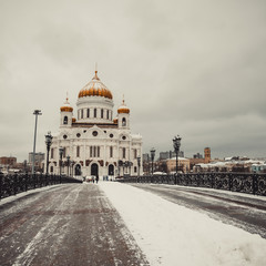 Moscow, the Cathedral of Christ the Saviour in winter