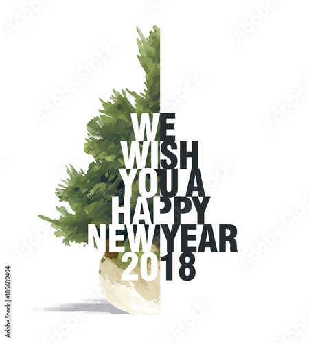 we wish you a happy new year 2018 isolated christmas tree