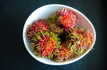 Rambutans ripe tropical fruits