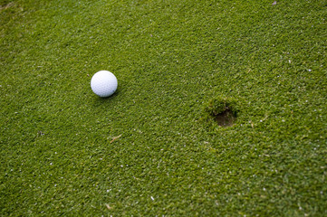 Golf ball on green with ball mark