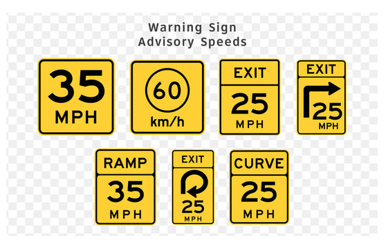Road sign. Warning. Advisory Speeds.  Vector illustration on transparent background