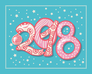 Holiday pattern with color hand lettering 2018 and Happy New Year blue background with snow and stars vector image. Colorful celebration pattern for New Year and Christmas holiday