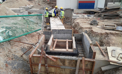Underground precast concrete drainage under construction at the construction site in Sendayan, Malaysia.