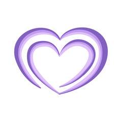 Violet heart in spiral form for greeting card or cover for Valentine day isolated on white background vector image. Romantic purple heart on white background vector illustration
