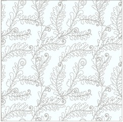 Seamless floral pattern outline fern leaves on light green stock vector illustration