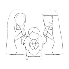 holy family christmas characters vector illustration design