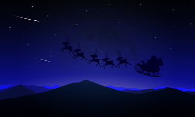 Night landscape of a Santa Claus flying over the moon