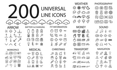 200  line icons set of weather, cloud, photography, arrow, battery and charging, fitness info, money, sound, workspace, medical, christmas, transport and navigation