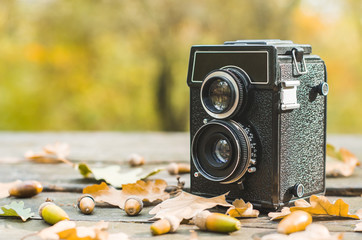 Vintage camera on a table and fallen leaves and acorns around