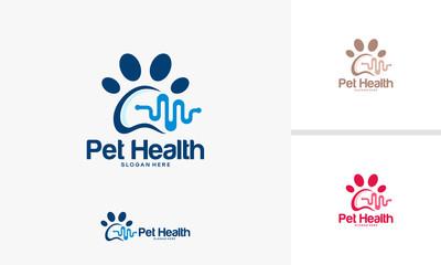 Pet health logo designs vector, Animal Care logo designs concept