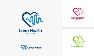 Love Health logo designs concept, Health logo designs template, Hearth Health logo