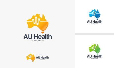 Australian Health Logo designs concept, Australian Map logo designs