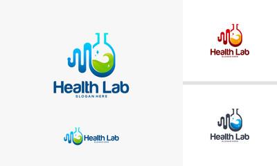 Health Laboratory logo designs concept, Pulse logo designs, Laboratory logo designs,