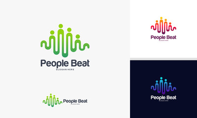 community logo template designs vector illustration, People Beat logo