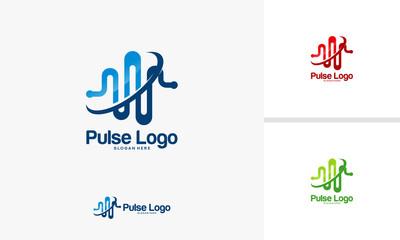 Pulse logo designs concept, Simple Health Logo template vector