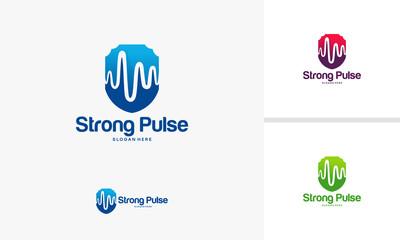 Health Secure logo template, Strong Pulse logo designs concept