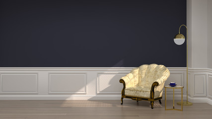 armchairs in luxury empty room 3D rendering reception room and dark blue wall color Classic style for copy space