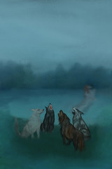 wolves, dogs and abstraction pairs in water