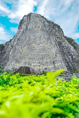 buddha art on big cliff