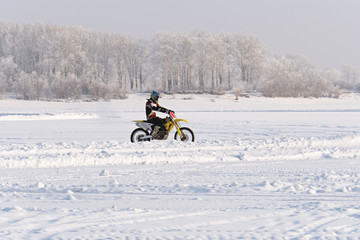 Motorcycling in the winter.