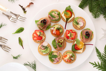 Photo Stands Ready meals Delicous assorted cnapes for festive appetizer