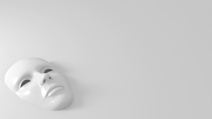 3d face mask monochrome on empty background