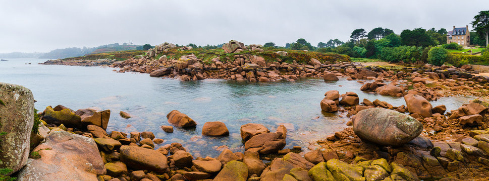 Pink Granite Coast in Brittany near Ploumanach, France.