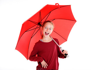 laughing blond girl with red umbrella