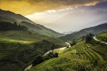 Terraced rice field landscape of Mu Cang Chai, Yenbai, Northern Vietnam