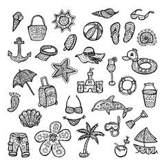 Enjoy summer holidays. Beach icons set. Stock vector template, easy to use.