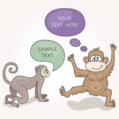 Funny Monkeys With Speech Bubbles. Vector illustration for your cute design.