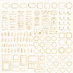 Set of hand drawn foil design elements. Golden wreaths, frames, hearts, borders, dividers, corners, glitter vintage ornate motifs.