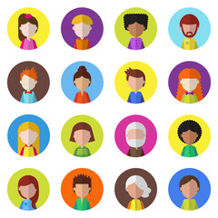 Set of people icons for avatars. Vector illustration for your cute design.
