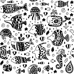 Seamless pattern with sea creatures. Seamless pattern can be used for wallpaper,  pattern fills, web page background,  surface textures.