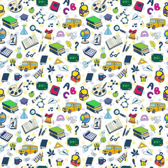 Back to School. Seamless pattern can be used for wallpaper,  pattern fills, web page background,  surface textures.