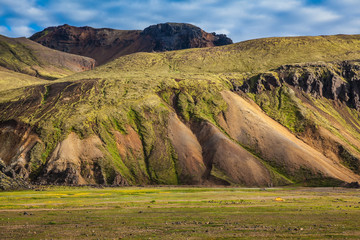 Multicolored rhyolite mountains surround the valley