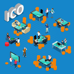 ICO Concept Isometric Composition