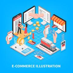 Electronic Commerce Isometric Illustration