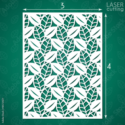 Die Cut Ornamental Panel With Pattern Of Leaves May Be Use For