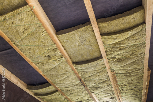 Thermal insulation mineral rock wool installation at the for Rocks all insulation