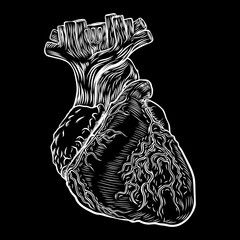 Heart boho black work, dot work flesh tattoo concept. Symbol of love and life. Sketch isolated on black for t-shirt print, poster, textile. Vector.