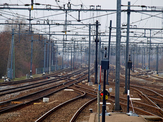 a lot of tracks around the station of Gouda, the Netherlands