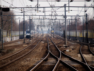 a lot of tracks with trains around the station of Gouda, the Netherlands