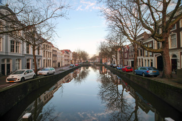 canal in the center of city Gouda with old buildings